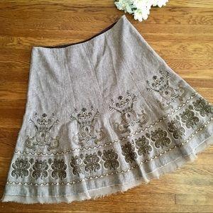 Nygard wool blend tweed embroidered skirt 14